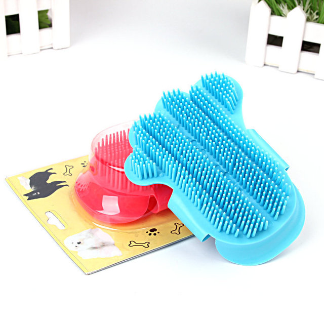 1PC GOUGU Cat Dog Soft Rubber Massage Gloves Pet Cleaning Bath Removal Brush Comb Shampoo Grooming Tools 5