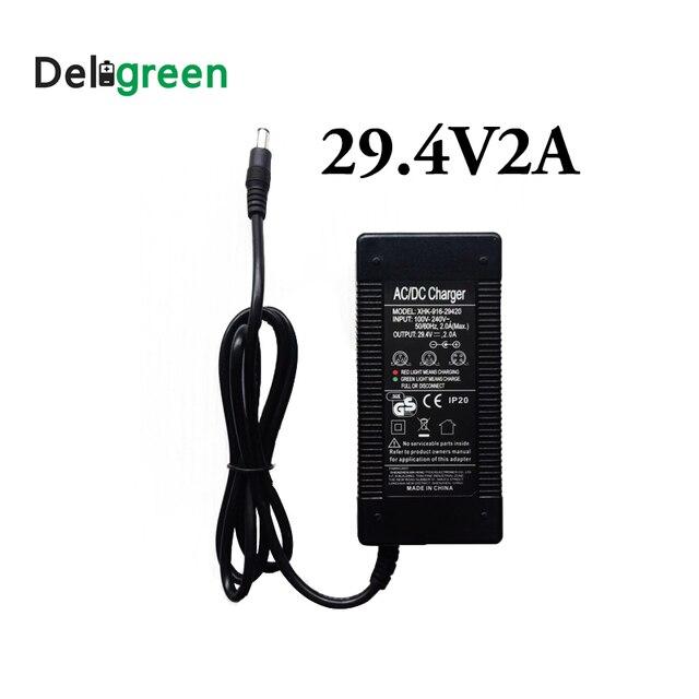 Deligreen 29.4V 2A chargeur de batterie Lithium Ion LiNCM chargeur pour 7 série chargeur électrique pour auto équilibrage scooter Hoverboard