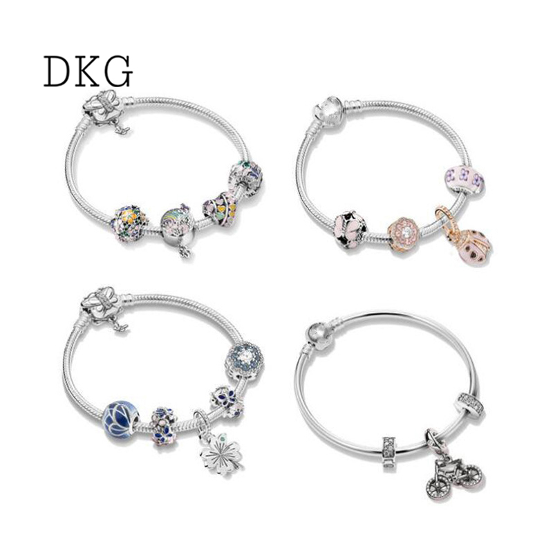 NEW 925 Sterling Silver Butterfly Flower Ladybird Bicycle with Crysatl Bracelet Set Bracelet Fit Pan Women Bracelet DIY JewelryNEW 925 Sterling Silver Butterfly Flower Ladybird Bicycle with Crysatl Bracelet Set Bracelet Fit Pan Women Bracelet DIY Jewelry