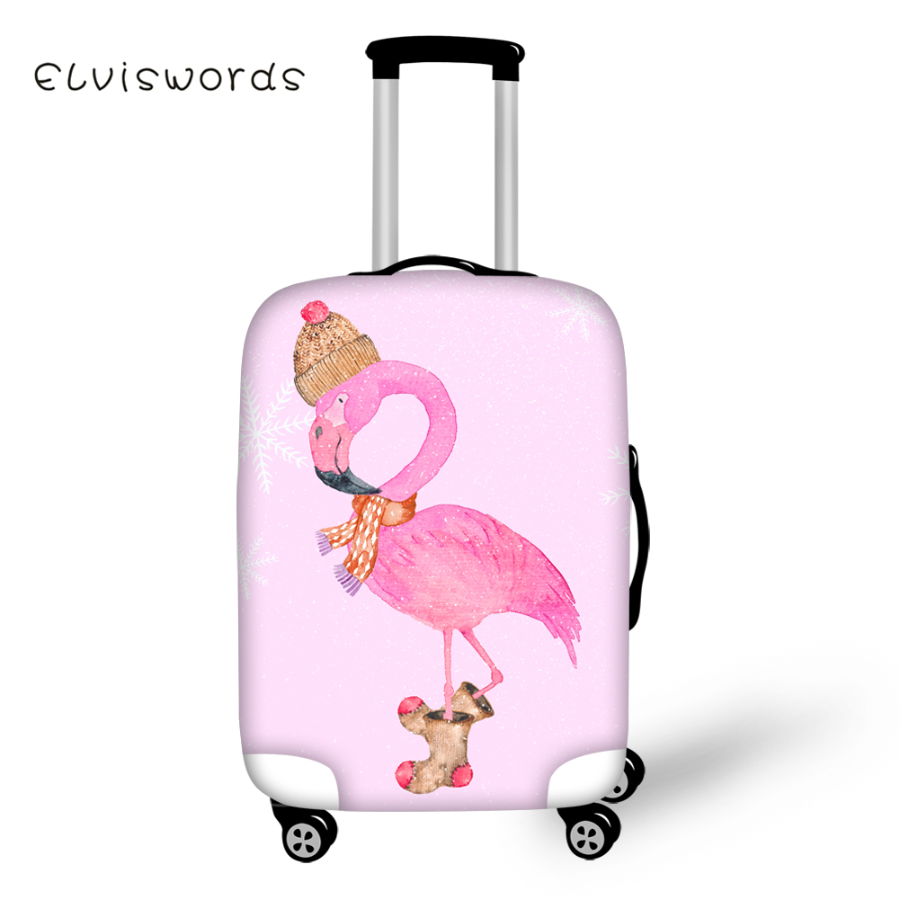 ELVISWORDS Pretty Flamingo Print Travel Luggage Protective Covers Anti-dust Elastic 18-28inch Waterproof Trolley Suitcase Cover
