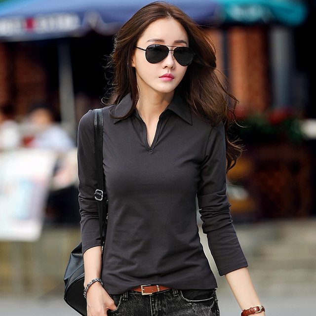 New 2016 Polo Women Long Sleeve 7 Colors Polo Shirt For Women Plus Size Cotton Polos Mujer Autumn Winter Tops Tees Ladies Polo