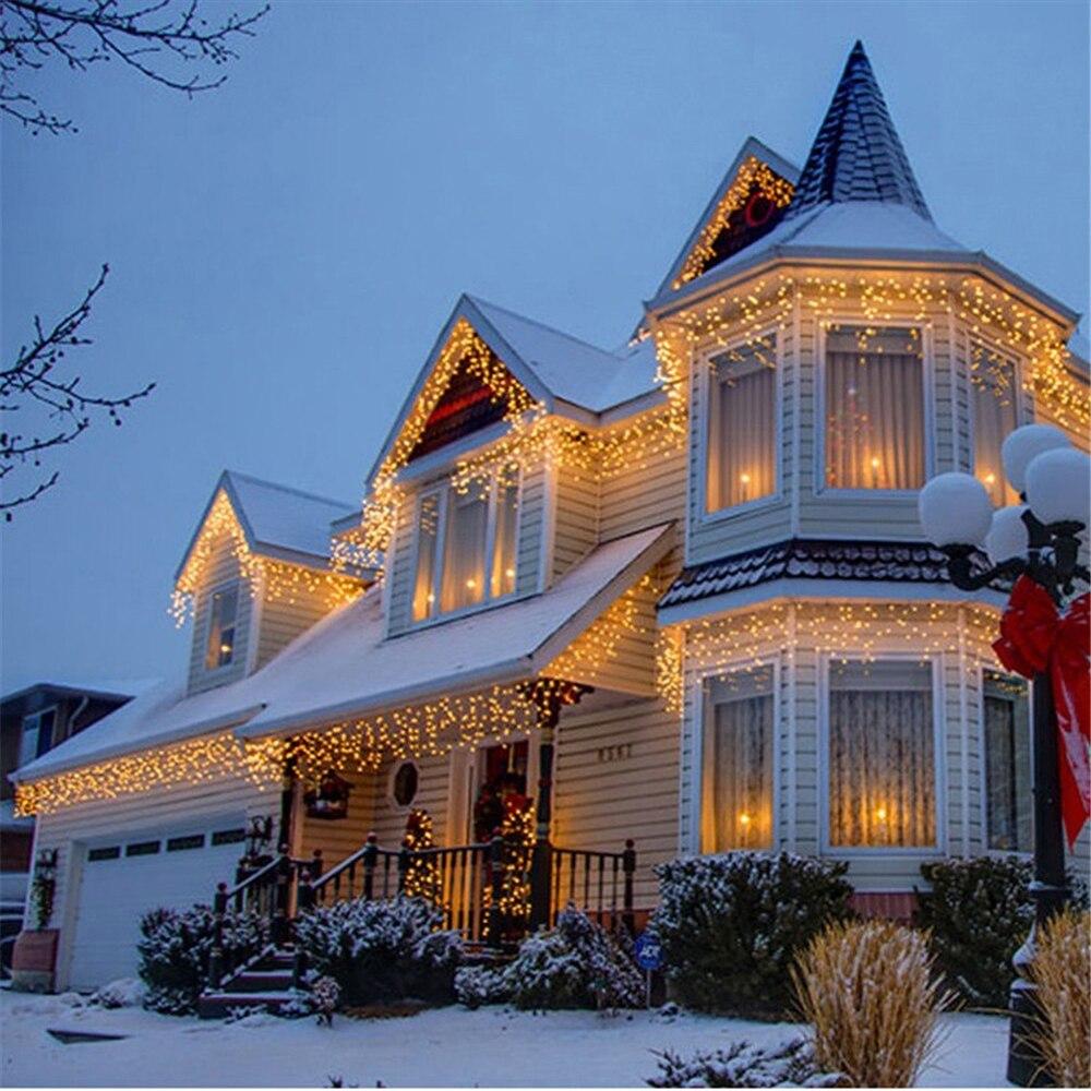 Kmashi Рождественские огни Открытый украшения 10 шт./лот 5 м 216 светодио дный Шторы сосулька огни строки ЕС