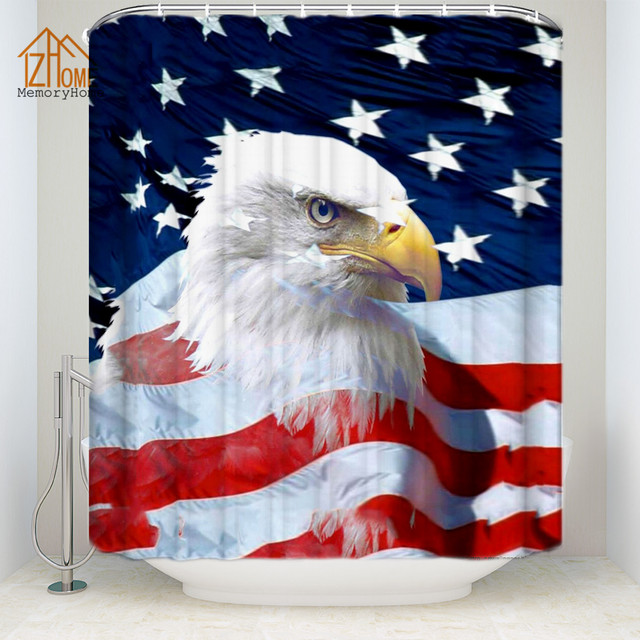 Memory Home American Flag Decor Shower Curtain Multi Size Waterproof Polyester Fabric Eagle Bathroom