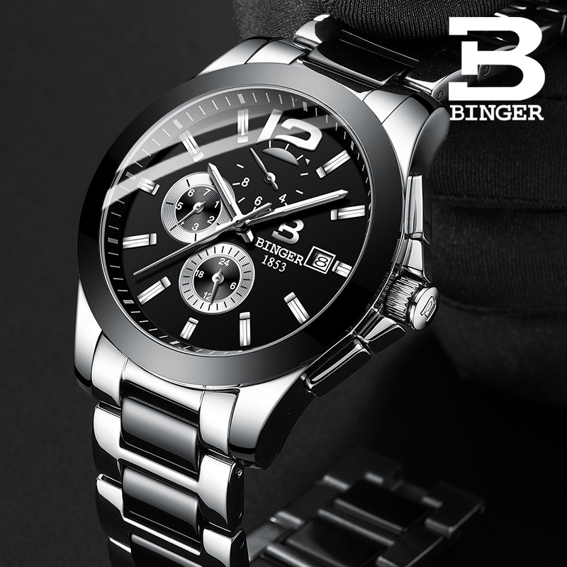 Business Fashion Lovers Mechanical Watches Self-winding Ceramic Bracelet Watch Workable 3 Eyes Women Men Calendar Wrist Watch