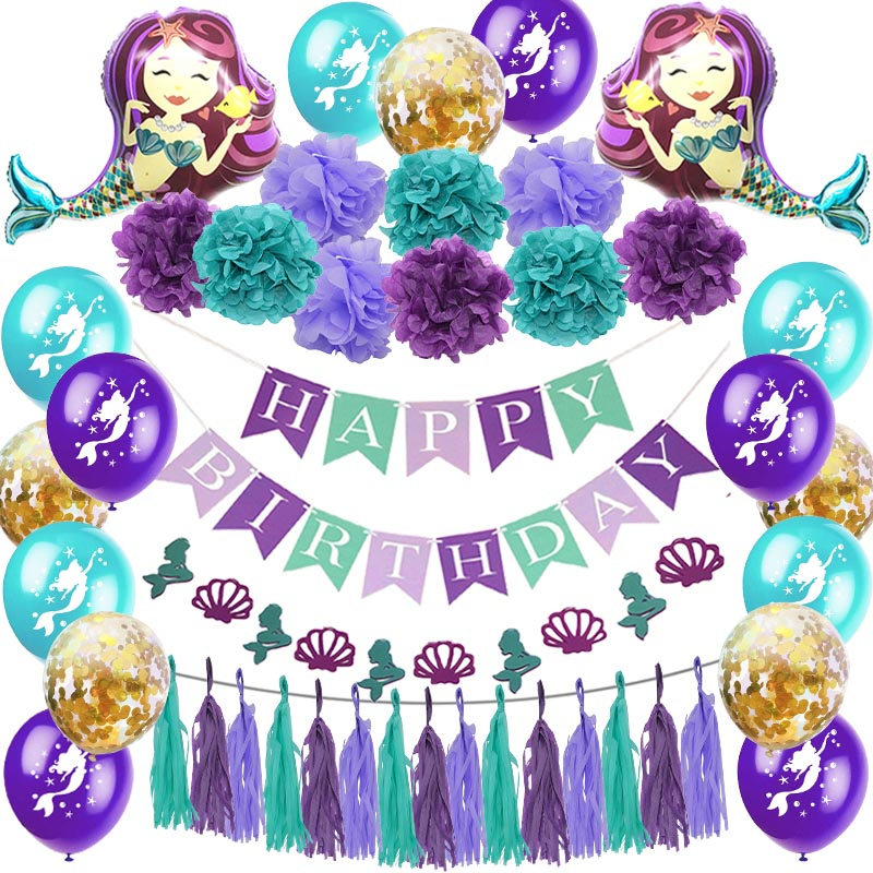 Little Mermaid Party Supplies Mermaid Balloon Banner Decoration Mermaid Birthday Party Favors Kids Birthday Parties Decorations