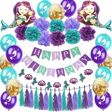Little Mermaid Party Supplies Balloon Banner Decoration Birthday Favors Kids Parties Decorations