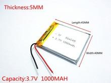 Polymer battery 1000 mah 3.7 V 504045 smart home MP3 speakers Li-ion battery for dvr,GPS,mp3,mp4,cell phone,speaker