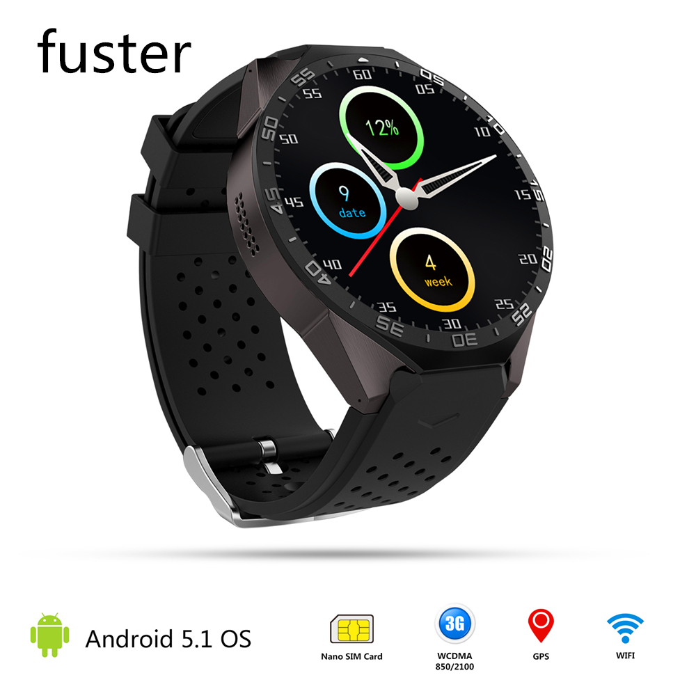 Kw88 smart watch mtk6580 cpu android 5.1 sistema smartwatch con GPS y la Frecuen