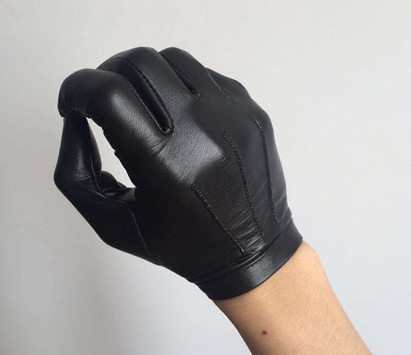 Calharmon hommes une pièce entière de cuir poignet bouton top gants en cuir noir - 2