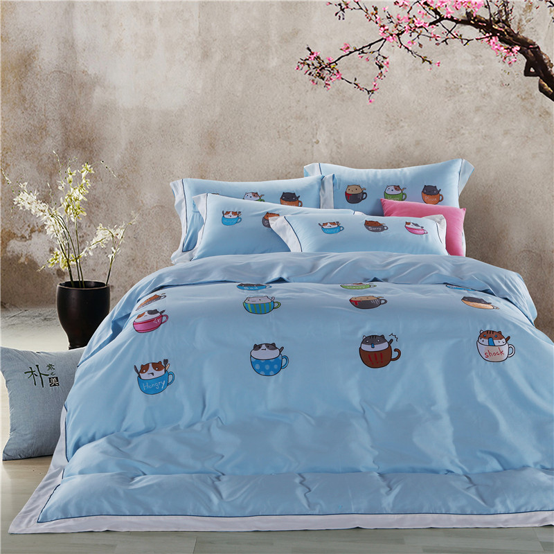 Papa Mima font b cute b font cat egyptian cotton Bedding Set king queen size Embroidery