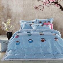 Papa&Mima cute cat egyptian cotton Bedding Set king queen size Embroidery Bedlinens Duvet Cover set pillow sham Bedsheet