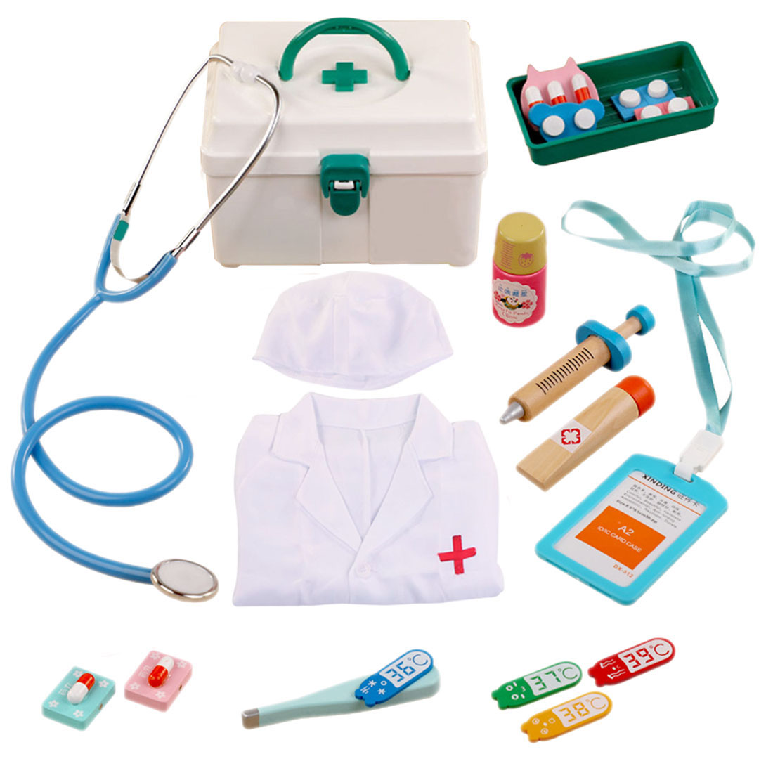 14Pcs/set Children Pretend Play Medical Kit Role Play Doctor Playset With Doctor's Overall For Kids Birthday Gift Set-Green/Pink