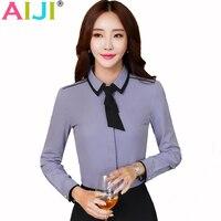 AIJI 2017 Spring Women Formal Clothing Long Sleeve Shirts OL Elegant Bow Tie Chiffon Blouse Office