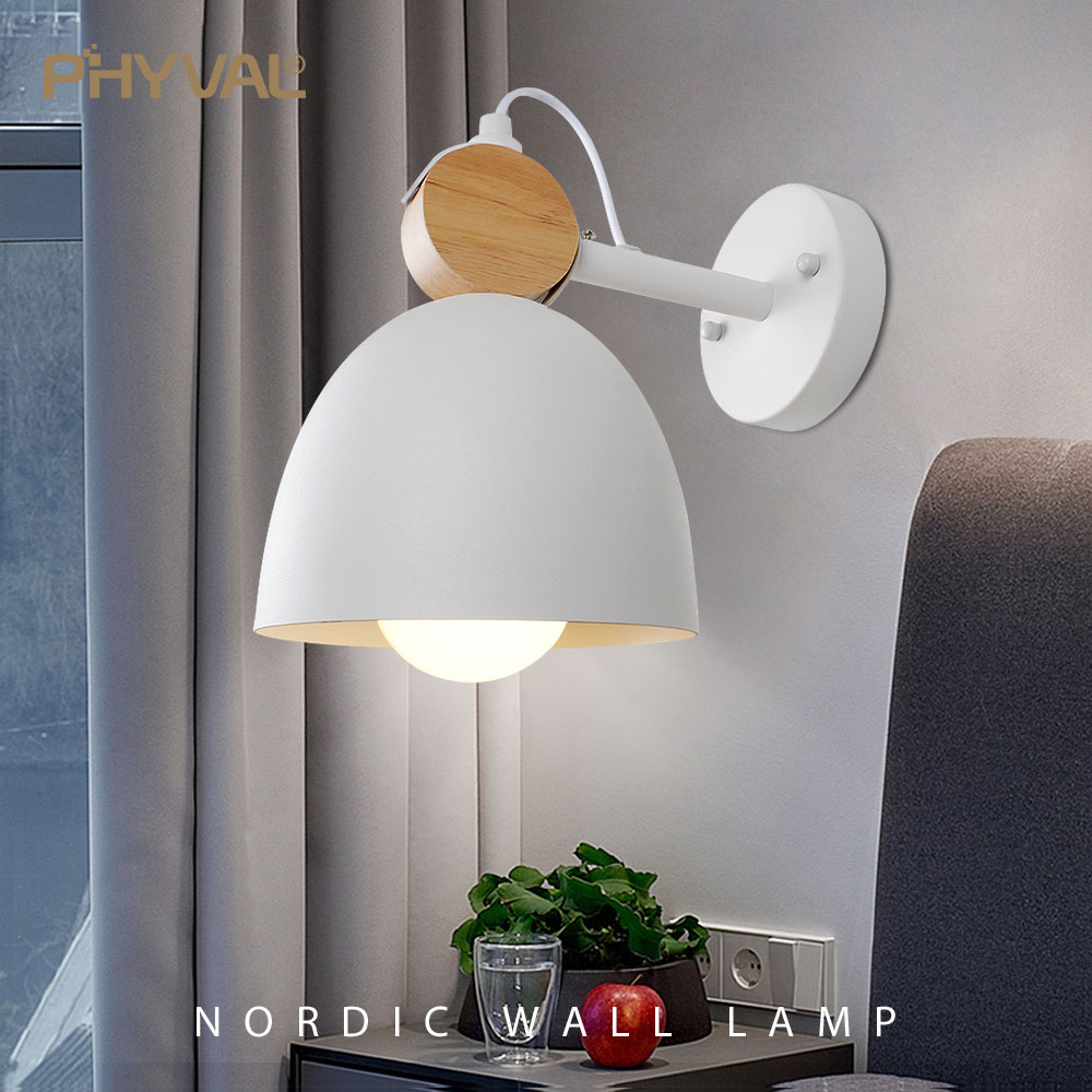 Nordic Wall Lamp Iron Solid wood combination Wall light round LED Macarons Creative wall lamp bedside