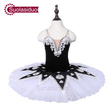 Girls Black Ballet Tutu Swan Stage Performance Dancewear Kids Classical Dance Competition Costumes Adult