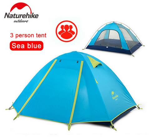 NatureHike Waterproof Fabric Double Layer 3 4 Person Ourdoor Camping Tent for Hiking Fishing Hunting Adventure Picnic Party naturehike factory store 2 1kg 3 4 person tent double layer waterproof fabric camping hiking fishing tents dhl free shipping