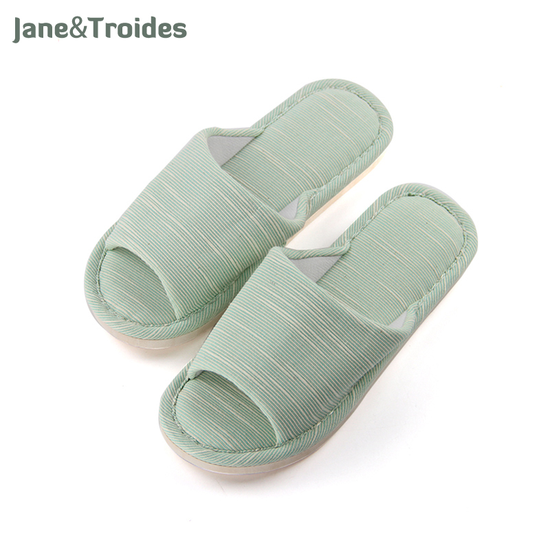 Home Cotton Comfortable Women Slippers Open Toe Anti Slip Flip Flops Striped Thicken House Sandals Fashion Woman Shoes wholesale 5 woman foam open toe backless flip flops shoes slippers 1 pair
