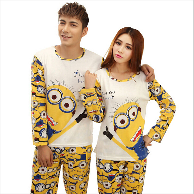 Minion Lovers Sleepwear 2016 spring Autumn Long-Sleeve Cartoon Cute Pajamas For Women homewear Couples Matching Pajamas Sets