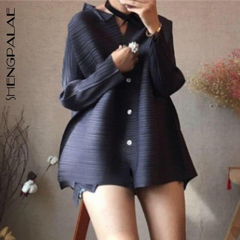 SHENGPALAE 2019 haute qualité chemise plissée femmes simple boutonnage lâche col montant Blouse nouvelle mode dame à manches longues YG668