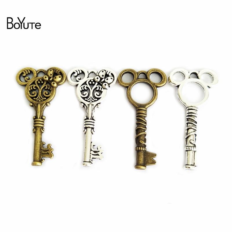(30 Pieces/Lot) 23*47MM Men 24*47MM Women Vintage Diy Jewelry Accessories Parts Mickey Key Pendant