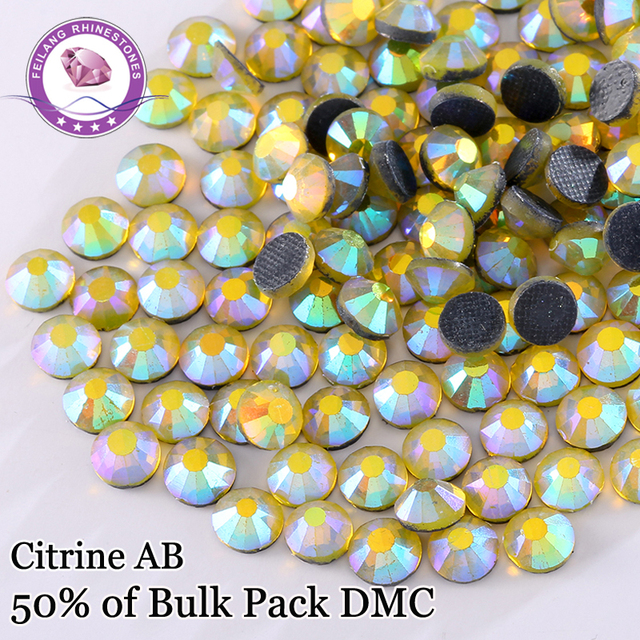 DMC Hotfix Rhinestones SS6 SS10 SS16 SS20 SS30 Color Citrine AB  For  DIY Dresses Shoes Bags Decoration