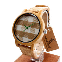 A28 Bobobird Recién llegado de Cosecha Ronda Dial Relojes de Las Mujeres Señoras Relojes de Cuarzo De Madera De Bambú Con Tejido Superior Marca de Relojes de Lujo