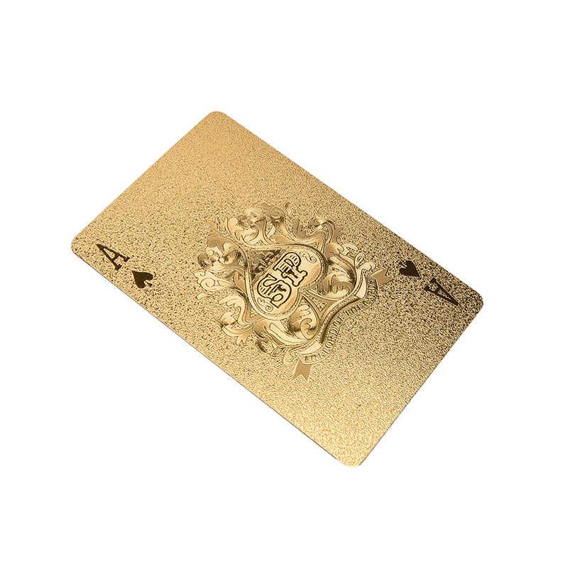 1Set Gold Folie Poker Goldene Poker Karten Wasserdicht Spielkarten Gold Farbe Spielkarten Unterhaltung Tabelle Spiele