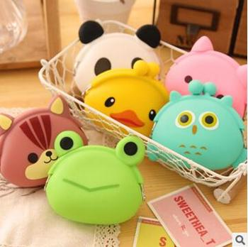2017 Hot 3D kawaii Cute sac Cartoon Animal Silicone Coin Purse Wallets Rubber Purse Bags coin case kids wallet fashion girls bag monederos de silicon buho