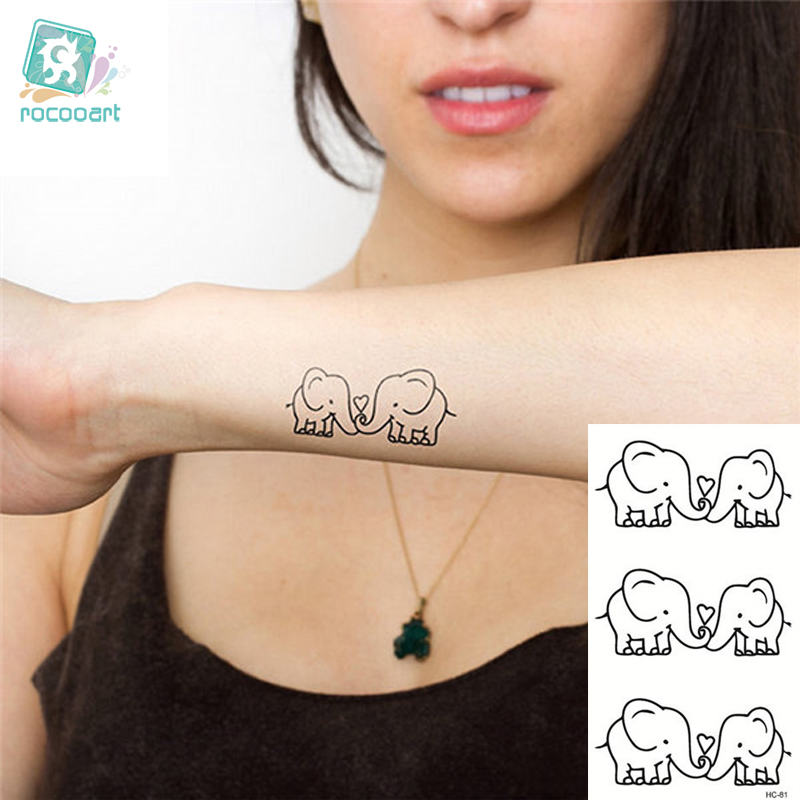 Us 037 31 Offrocooart Hc1081 Verwijderbare Tijdelijke Tattoo Sticker Leuke Cartoon Baby Olifant Patroon Flash Tattoo Kawaii Fake Tattoo
