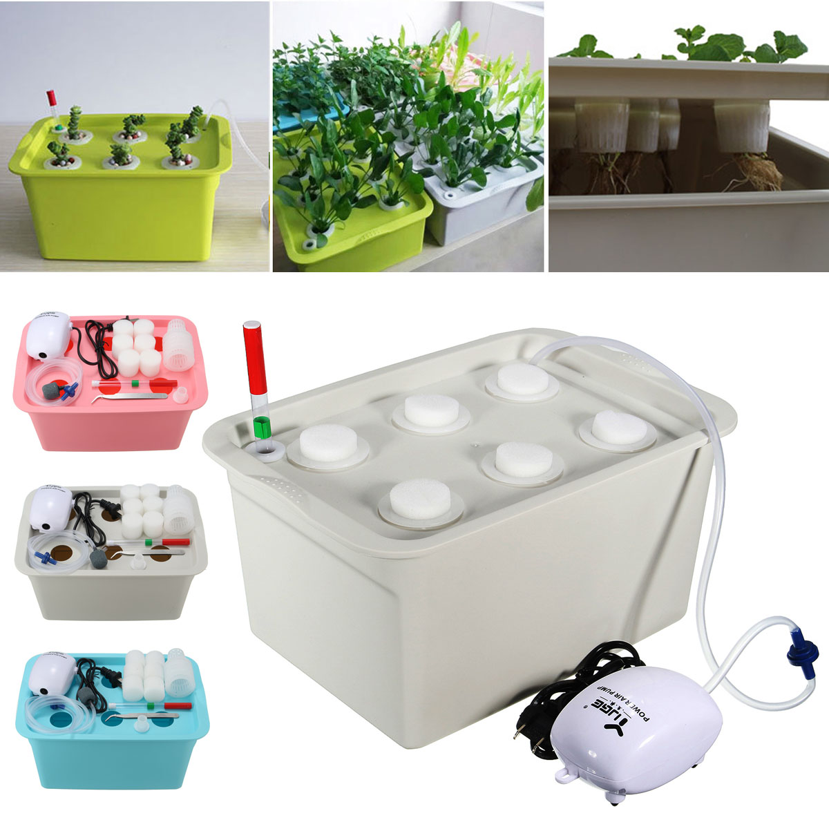 1 sets 220V/110V Plant Site Hydroponic Systems Kit 6 Holes Nursery Pots Soilless Cultivation Box Plant Seedling Grow Box Kit