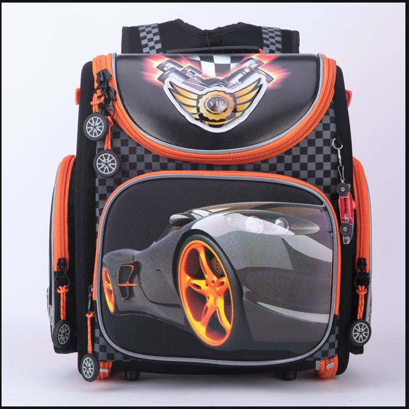 Russian Style Cartoon Red Racing Kids School Bags for Boys Waterproof Foldable Orthopedic School Backpacks For 1-4 Grade Studets cartoon airplane style red