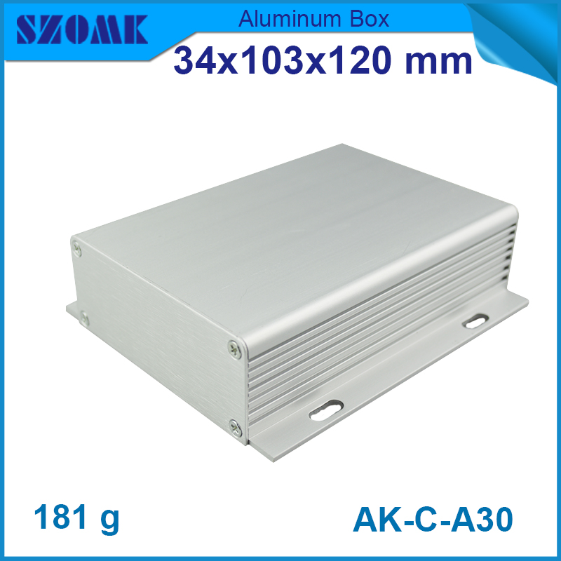 1 piece wall mounting aluminium housing electronics extruded 34*103*120mm aluminum enclosures 1 piece free shipping small aluminium project box enclosures for electronics case housing 12 2x63mm