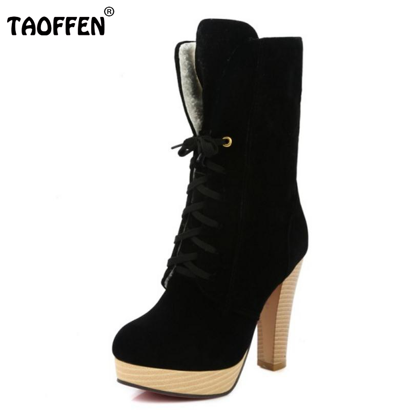 Women Sexy Thick Heel Mid Calf Boots Woman Pointed Toe Lace Up Martin Boot Fashion Brand Autumn Winter Heels Shoes Size 34-45 купить