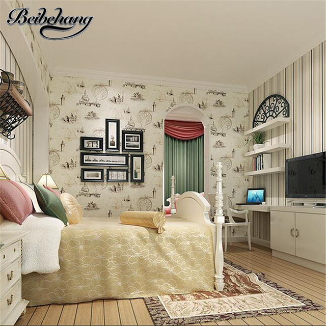 Beibehang High End Scandinavian Style Cartoon Non Woven Sailboat Wallpaper Children S