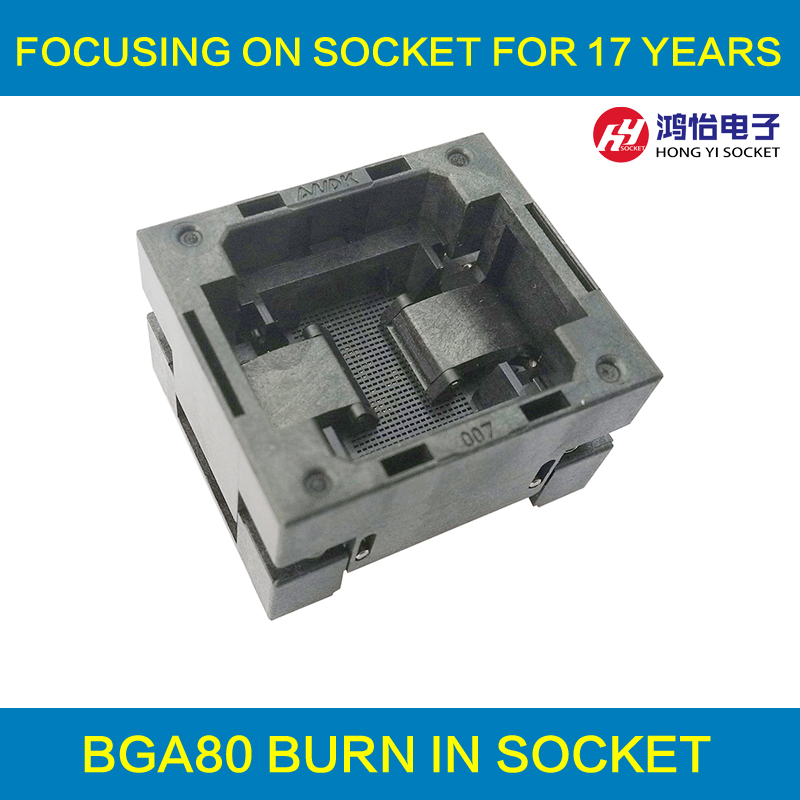 BGA80 OPEN TOP Burn in socket pitch 1.0mm IC size 9*11.5mm BGA80(9*11.5)-1.0-TP05/50N BGA80 VFBGA80 burn in programmer socket bga80 open top burn in socket pitch 0 8mm ic size 7 9mm bga80 7 9 0 8 tp01nt bga80 vfbga80 burn in programmer socket