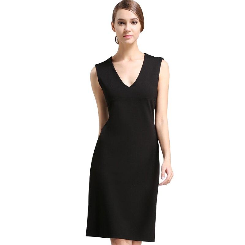 Buenos Ninos Custom Women Sleeveless Dress Sundress Formal Evening Formal Dress Black Low Cut Deep V neck Back Split Cloth