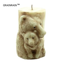 Grainrain 3D Candle Molds Silicone Soap Mold Bear DIY Handmade Craft Wax Clay Resin Moulds