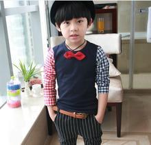 Retail Autumn baby boy t shirt navy blue cotton plaid sleeves tie t shirt boys bottoming shirt children t shirts