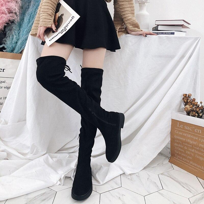Femme Chaussures Lace Sexy B1258 Suede Femmes Noir Talons Haute Faux Le Boot Cuisse Up Genou Bottes Sur Botas Mince 4g7RqOx7w