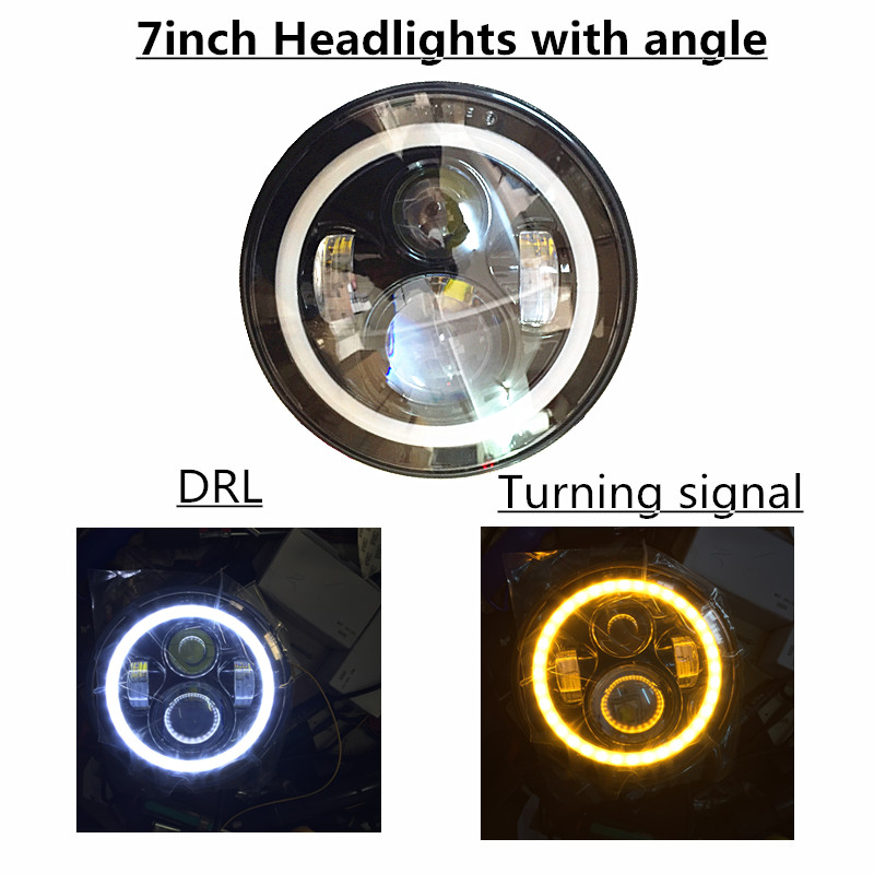 Angel eyes 7 LED Headlight for Wrangler JK TJ LJ H4 Hi-Lo Beam 1pair Front Driving Headlamp Styling Head Light For Land R-over nordic modern 6 arm pendant light creative steel spider pendant lamps unfoldable living room dining room lamp e27 led lamp