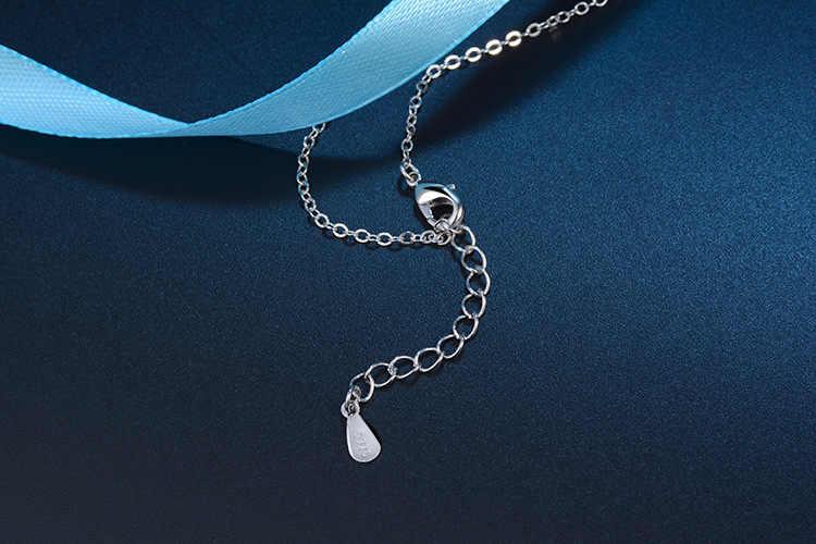 925 Sterling Silver Trang Sức Ngọc Trai Vòng Tròn Dải Dài Chuỗi Vòng Cổ collares kolye bijoux femme Choker Vòng Cổ