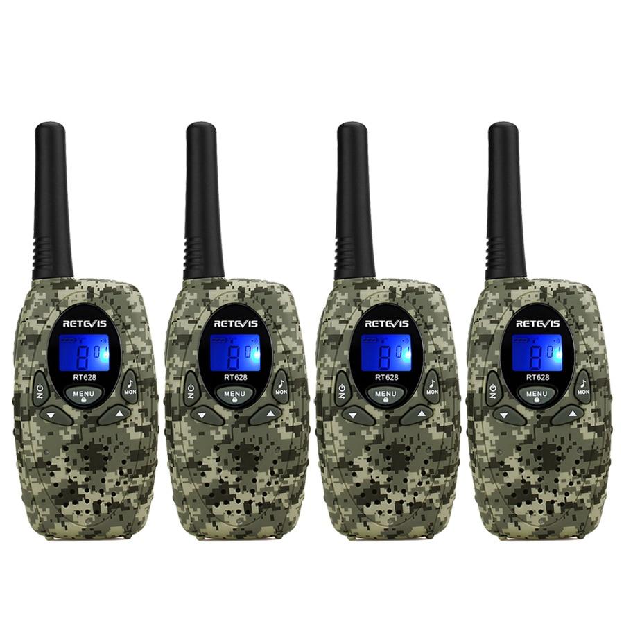 4 шт. Мини Walkie Talkie для детей 4 цвета Retevis RT628 0,5 Вт UHF PMR446 ЖК-дисплей Дисплей Портативный любитель двухстороннее радио игрушки