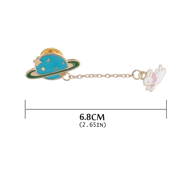 New Women Girl Accessories Cute Egg Cat Rabbit Planet Animal Chain Brooch Collar Brooches Women Badges Clothes Pins Jewelry Gift