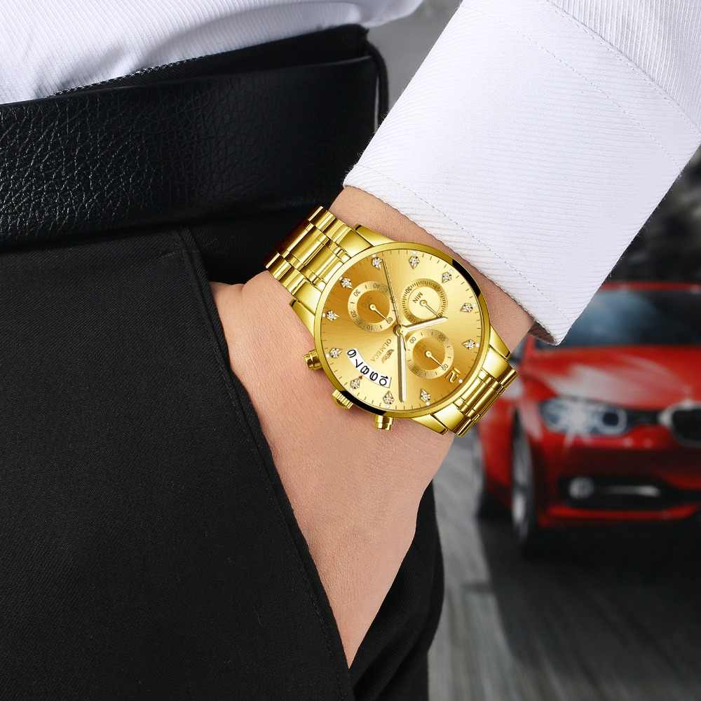 OLMECA Mens Business Watches 최고 브랜드 럭셔리 크로노 그래프 시계 전체 스틸 블루 골드 캐주얼 쿼츠 시계 Relogio Masculino