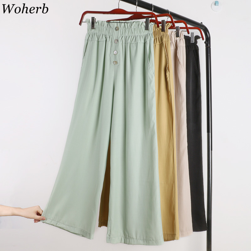 Woherb 2019 Summer New Modis High Waist   Wide     Leg     Pants   Korean Single-breasted Solid Casual   Pant   Trousers Women Spodnie Damskie