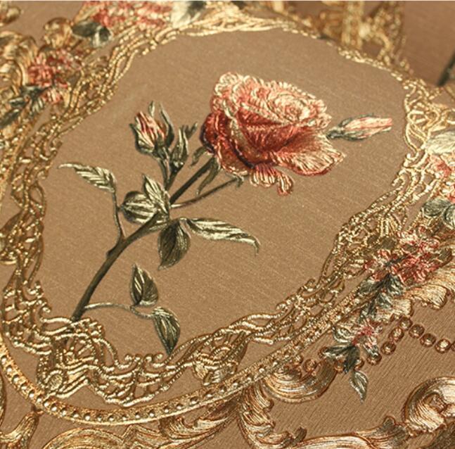 3d Red Flower Wallpaper Roll 3d Foil Embossed Gold Rose