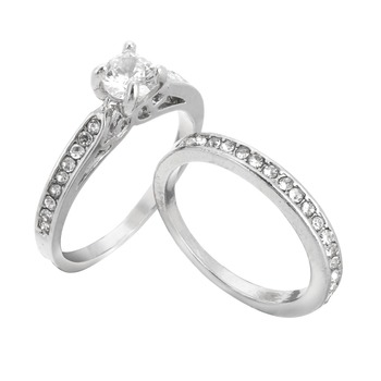 02b9c80154 Silver Plated Wedding Ring Shellhard Lovers Crystal Couple Rings Set For  Men Women Jewelry Engagement Wedding Rings 2Pcs - Best Gifts