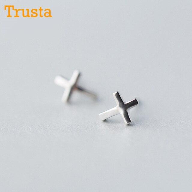 Trusta 2018 New Womens 925 Sterling Silver Jewelry Tiny 6mmx8mm Cross Earrings Gift S Kids Free