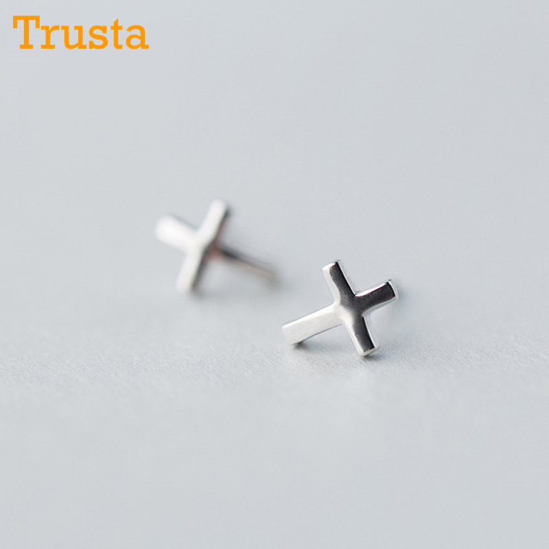 Trusta 2018 New Womens 925 Sterling Silver Jewelry Tiny 6mmX8mm Cross Earrings Gift Girls Kids Free Shipping DS248
