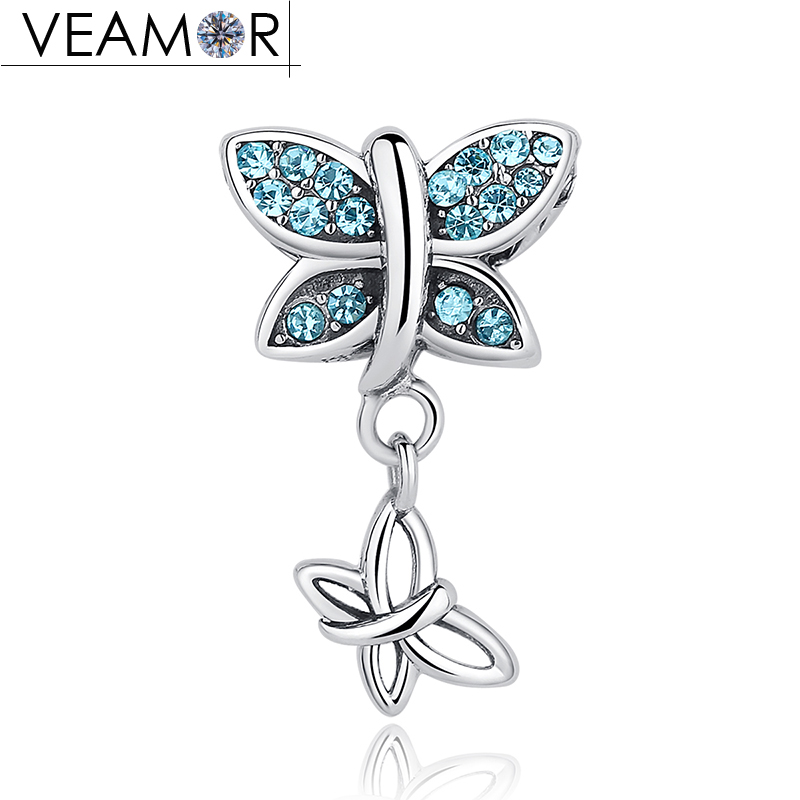 VEAMOR 100% 925 Sterling Silver Blue CZ Double Butterfly Pendant Charms Fit Pandora Bracelets Women Necklaces DIY Jewelry Making